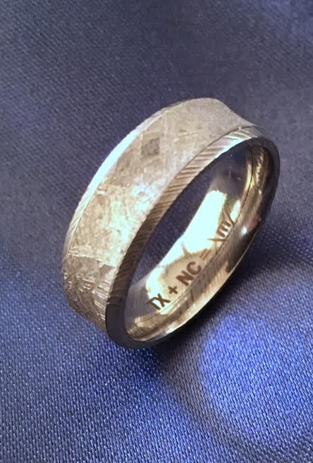 damascus steel ploof mokume jewelry chris meteorite wedding designs gane meteoriteandsamantha meteor slider rings