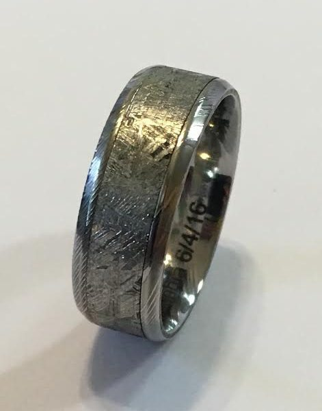 Meteorite lined in Damascus with Beveled Edges