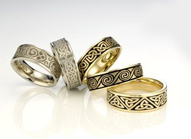 Artistic Celtic And Ethnic Wedding Bands Gold