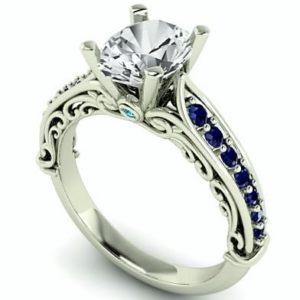 Lavish Art Deco Oval Diamond and sapphires