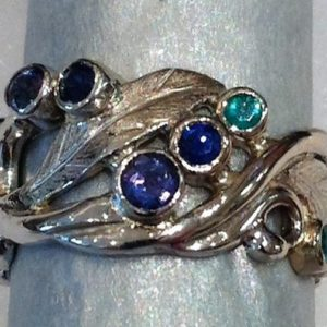 Botanical Design in white gold with Gemstones-Alexandrite | Sapphire | Emerald